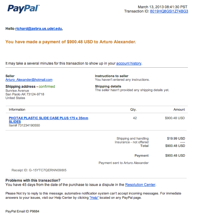 Threat Paypal Alerts Ud Phishing Scam Secure