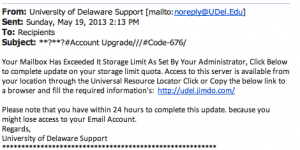 Phishing Scam from 5/19/13