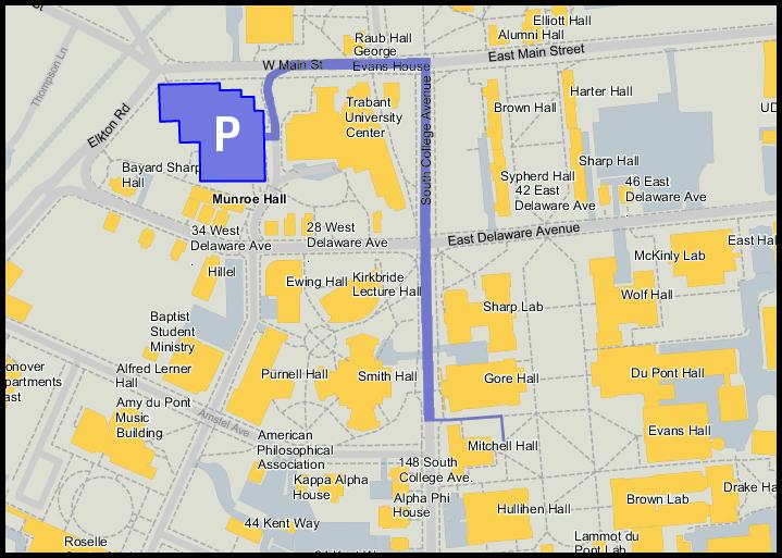 Udel Parking Map Driving/Parking Directions | UD Filipino Student Association Udel Parking Map