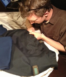 Tyler Putman sewing. His tailoring skills will come in handy this summer while working at Colonial Williamsburg.
