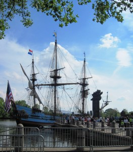 The recreated Kalmar Nyckel docked at Fort Christina.