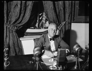 "Presiden Franklin Roosevelt was known for his ability to captivate Americans through his ""Fireside Chats."" Harris & Ewing,  FDR Fireside Chat, September 6, 1936 (Library of Congress)"