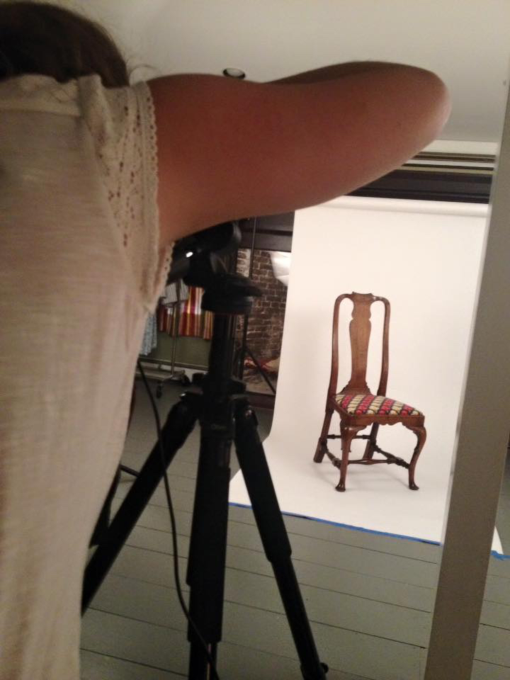 Practicing our photography skills on a Queen Anne chair