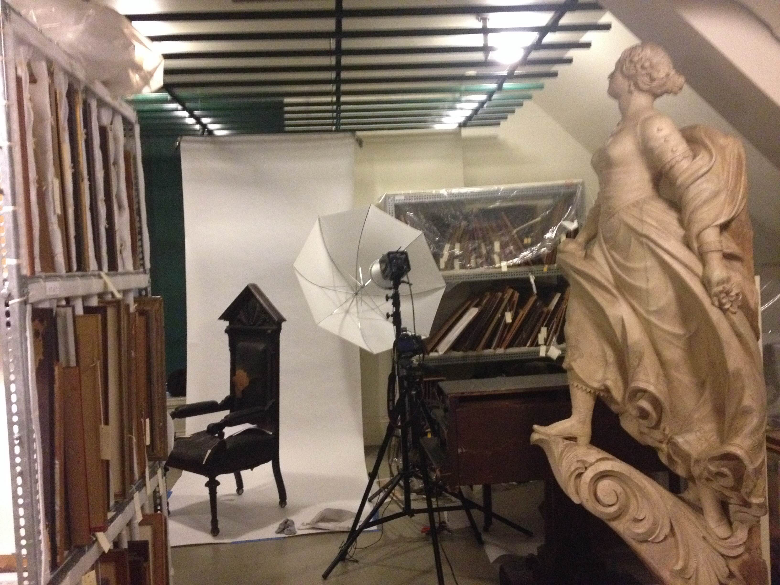 Working in collaboration with the collection's manager, we set up a tight but workable space for shooting at the Bostonian Society