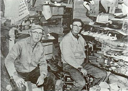 Steve and Lem Ward inside a decoy carving shop around 1918  (From Joe Engers, ed., The Great Book of Wildfowl Decoys, 2000