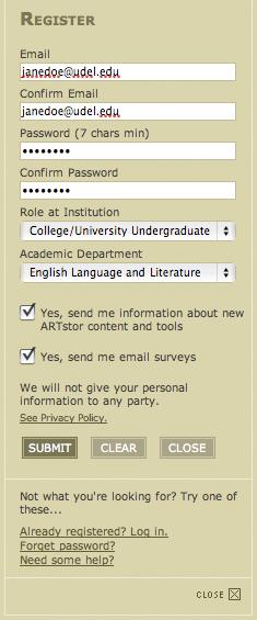 A sample ARTstor registration form