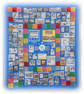 Meghan Elliott 16' designed and sewed this quilt supported by alumni volunteers commemorating our 50 years.