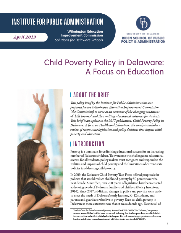 Cover of Child Poverty Brief 2019