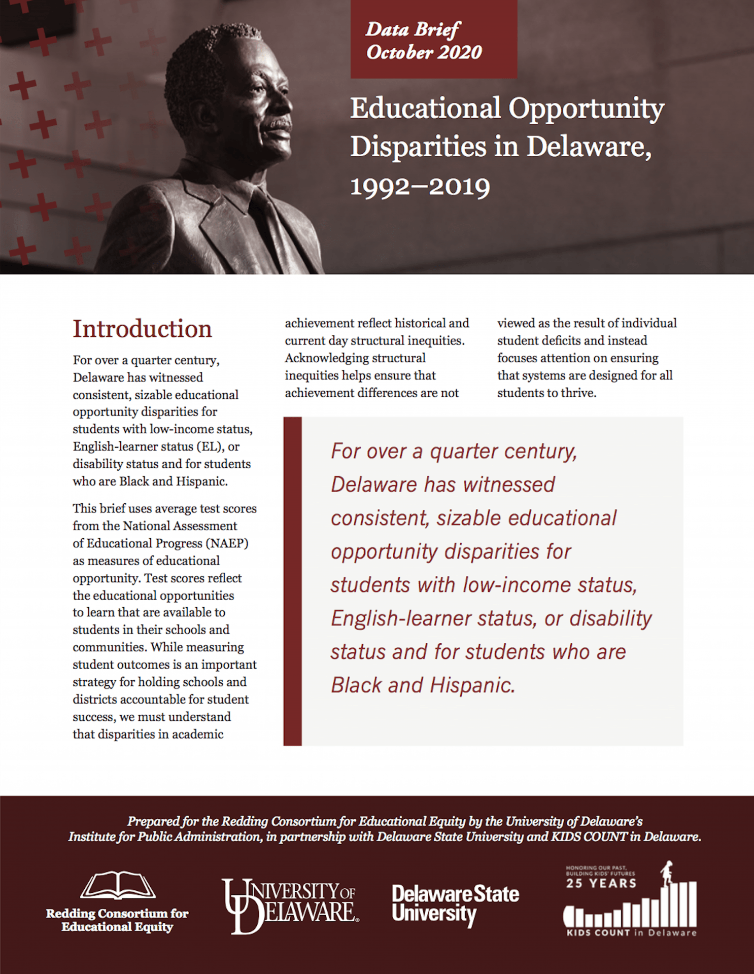 Educational Opportunity Disparities in Delaware, 1992–2019