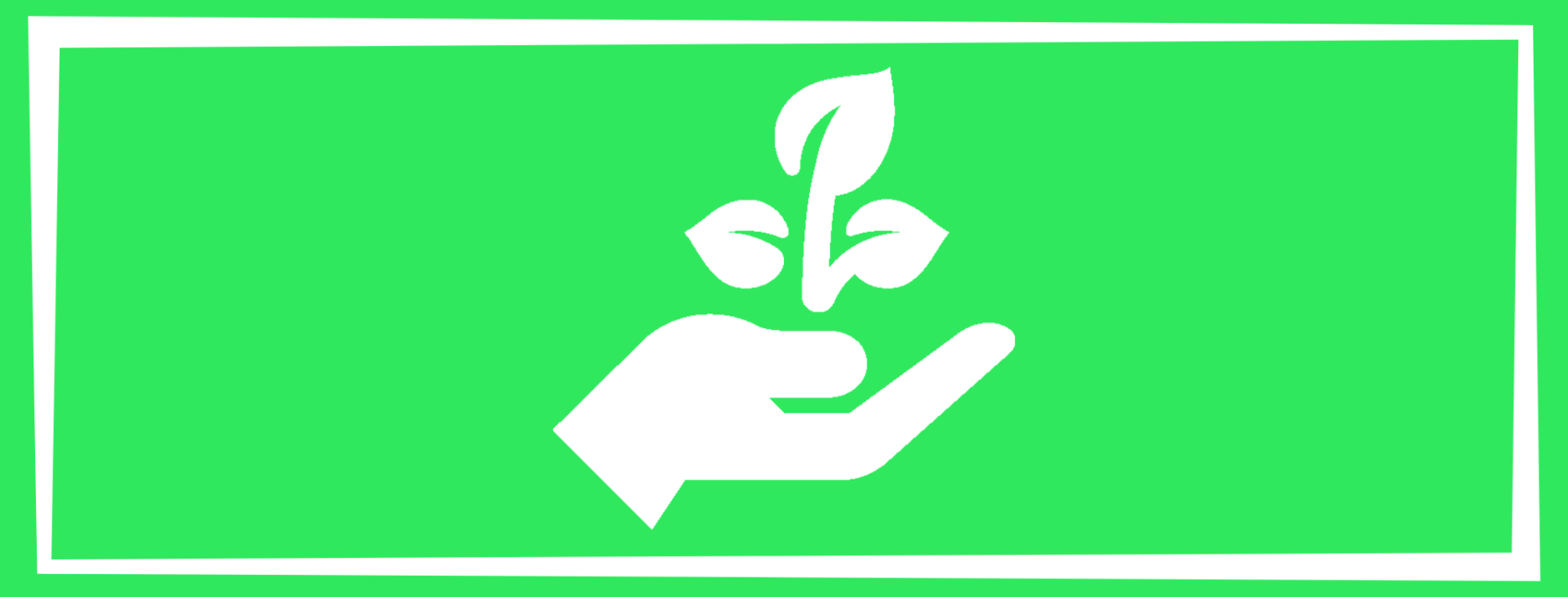 environmental wellness solid square with a hand holding a plant