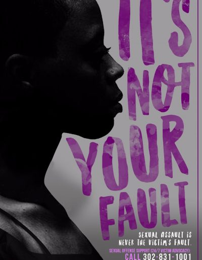 It's not your fault: Sexual Assault is Never the Victim's fault. Call 302-831-1001 to speak with an SOS advocate