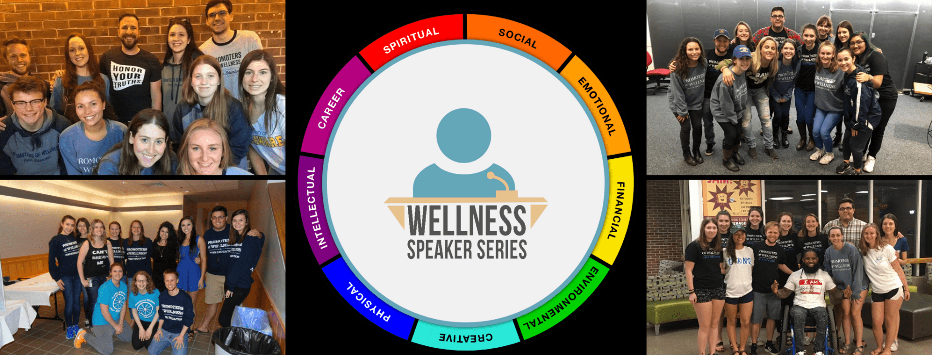 collage of photos with UD students and WSS speaker as well as WSS badge featuring the wellness wheel with 9 wellness dimensions and a speaker glyph at a podium