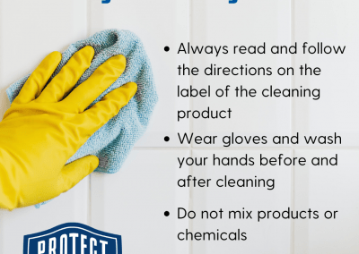 """Gloved hand wiping a surface with a towel. Title reads: """"Cleaning and Disinfecting Surfaces"""". Text reads: """"Always read and follow the directions on cleaning products, wear gloves and wash hands before and after cleaning, and do not mix products or chemicals""""."""