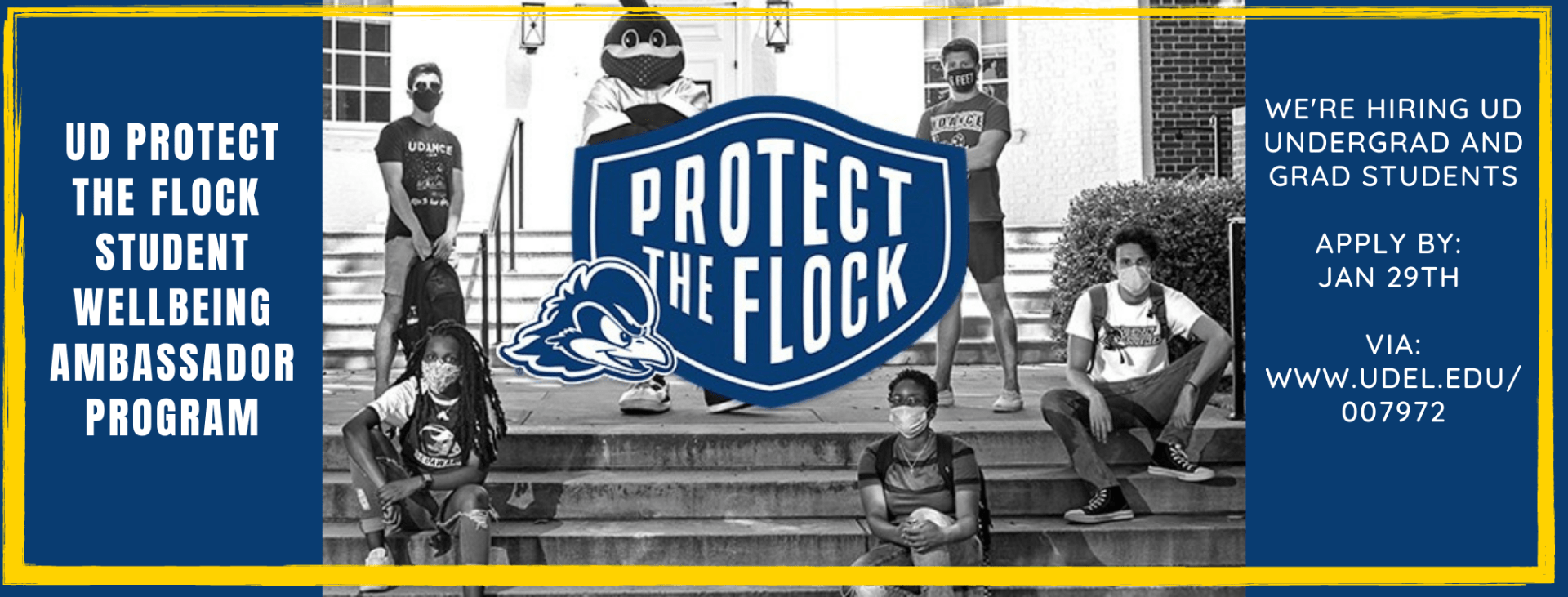 promo banner for new amabassdor program with students and YoUDee wearing masks supporting the protect the flock campaign to reduce covid-19 spread