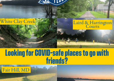"""Photos of outdoor spots on and around campus. Textbox reads, """"Looking for COVID-safe places to go with friends?"""""""