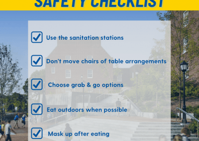 tips for staying safe in th dining halls such as wearing a mask, not moving tables, following posted signs
