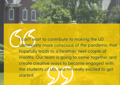 a quote from a student about why she's excited to be in the ambassador program to prevent covid-19