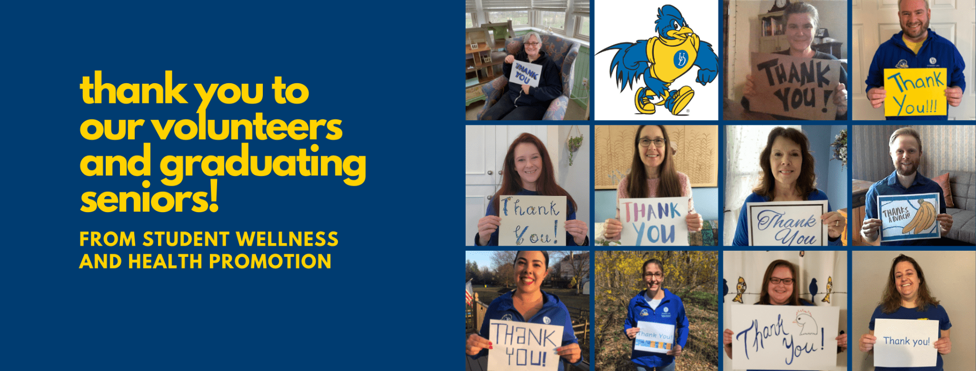 """a banner featuring images of the SWHP staff holding up """"thank you"""" signs with the text, """"thank you to our volunteers and graduating seniors"""""""