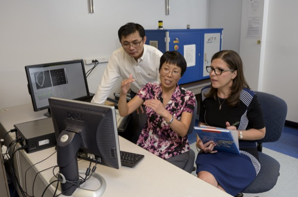 Liyun Wang with research colleagues Xin Lu and Catherine Kim-Safran