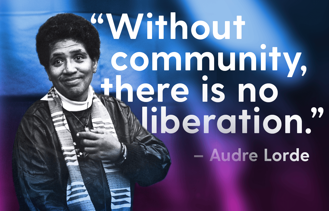 "Photo of Audre Lorde with quote ""Without community there is no liberation."""