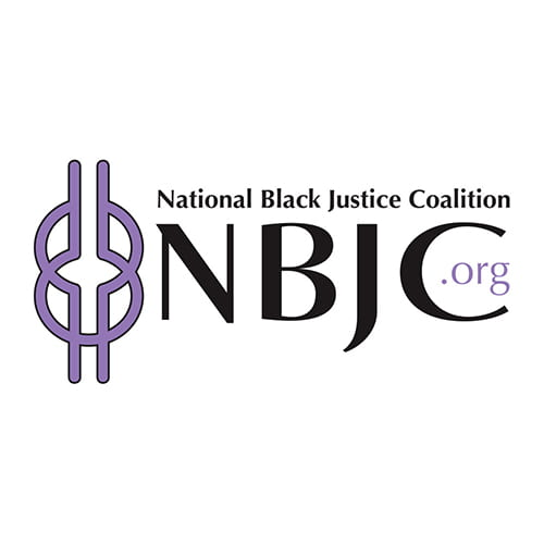 A white background with black text that reads National Black Justice Coalition with a purple logo featuring lines and circles intertwined