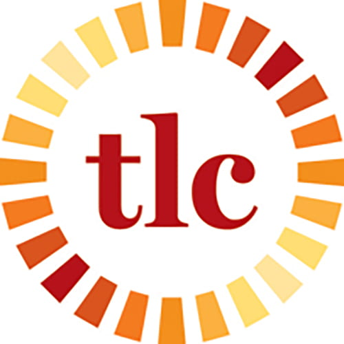 a white background with red text that reads t-l-c. The text is surrounded with a concentric circle of yellow orange and red lines