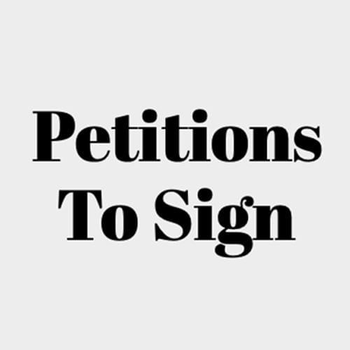 A light tan background with black text that reads Petitions To Sign