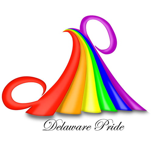 A white background with a pyramid shaped rainbow above black script font reading Delaware Pride