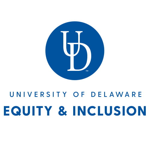 A white background with blue text that reads University of Delaware Equity and Inclusion