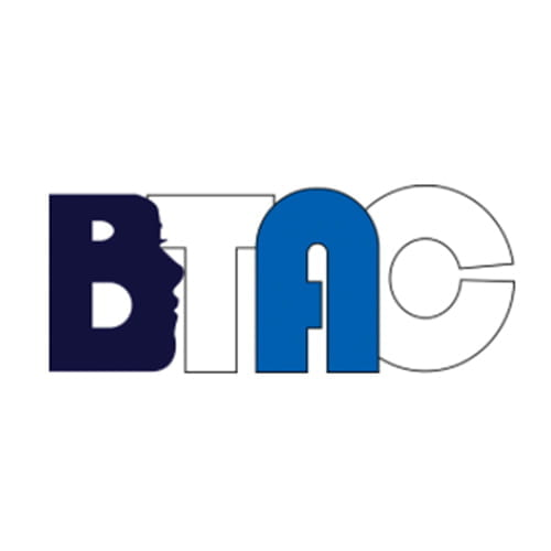 A white background with blue and black text that reads B-T-A-C