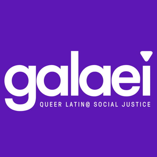 A purple background with white text that reads galaei QUEER LATIN@ SOCial JUSTICE