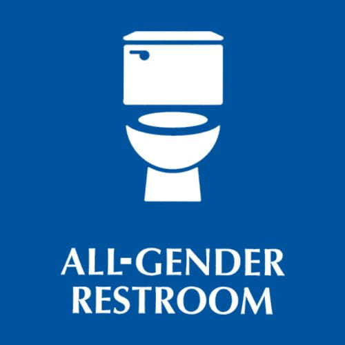 A blue background with a white icon of a toilet and white text that reads All-Gendered Bathroom