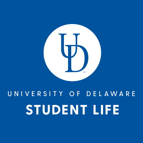 A blue background with white text that reads University of Delaware Student Life