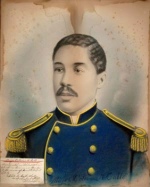 Portrait of Major Octavius V. Catto. Hand-colored salted paper print, enlargement of photograph by Gallo W. Cheston, pre-1871. University Museums, Gift of Mary Christine Hevner