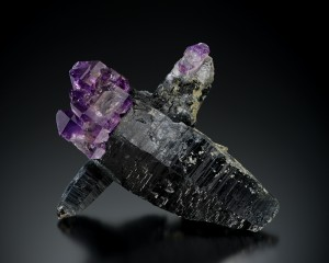 Quartz (Amethyst) on quartz (Smoky) Pohndorf Mine, Toll Mountain, Jefferson County, Montana 4 ½ inch x 5 ½ inch
