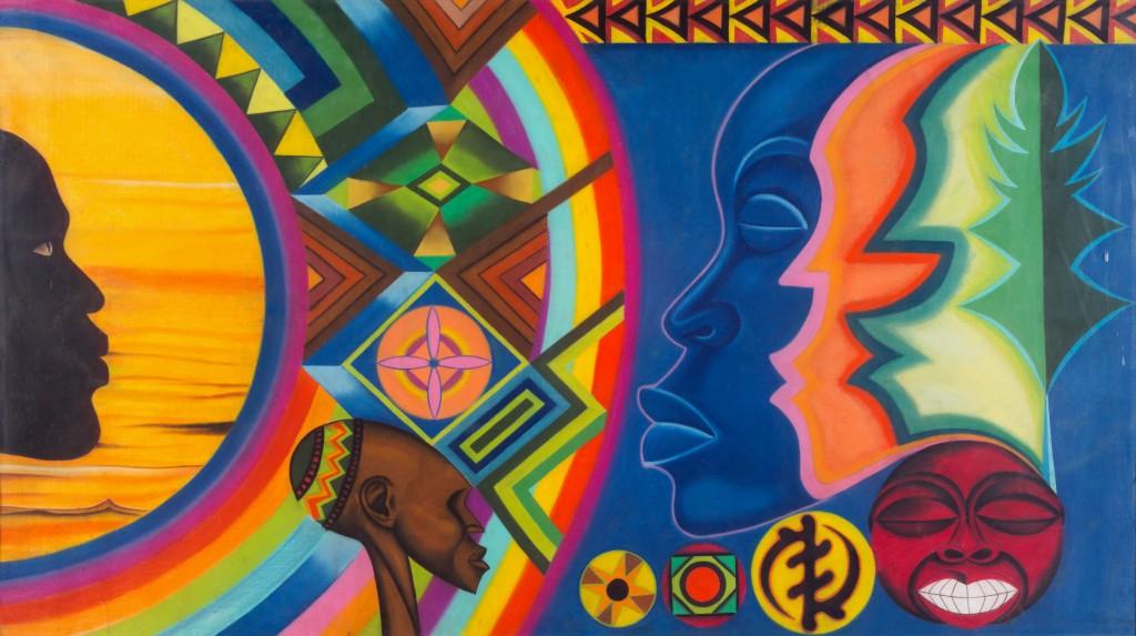 Amos Ashanti Johnson, African Rainbow, 1977. Pastel on paper. Paul R. Jones Collection, University Museums. © Artist or artist's estate