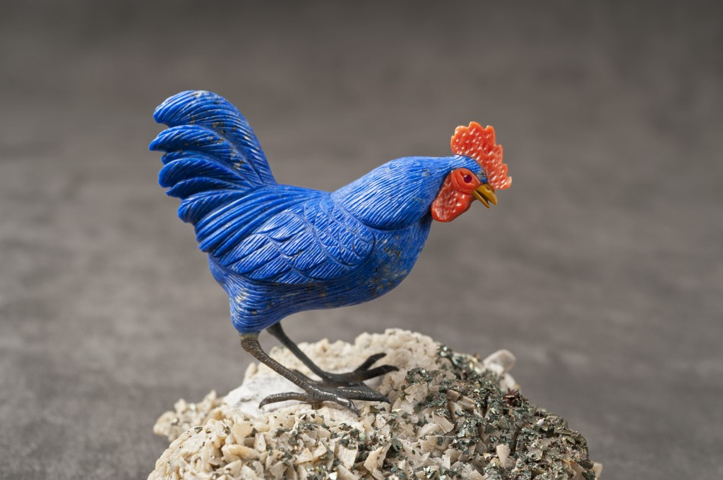 Blue Hen, carved of lapis lazuli and coral (2 ¾ inches)