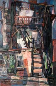 Edward Loper, Quebec City, Sou le Cap, ca. 1970-1980. Oil on canvas. Gift of Janet V. Neville-Loper. © University Museums, the artists, or their representatives