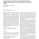 Cover for The Psychology and Practice of Youth-Adult Partnership: Bridging Generations for Youth Development and Community Change