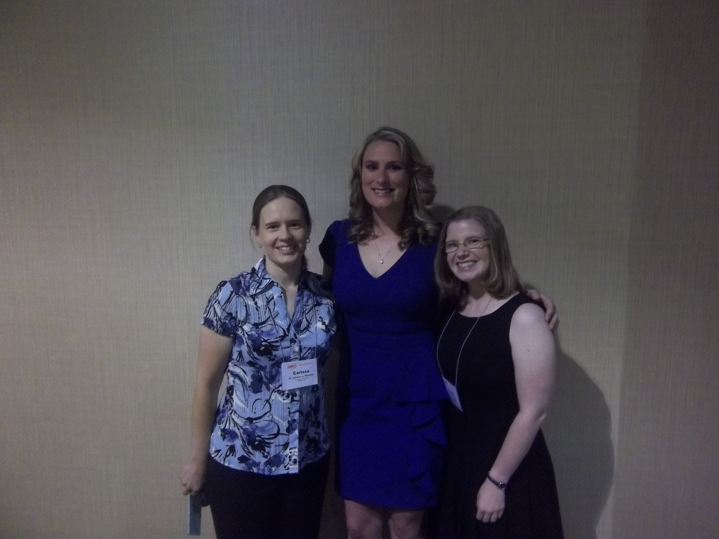 From left to right: Dr. Carissa Wickens (Equine Extension Specialist, Equine Management Professor, and my mentor for this project), Ms. Jessie Weir (Dr. Wickens's PhD student), and myself at the awards banquet at the close of the symposium.