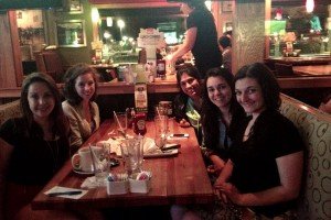 An Applebees reunion with some the above described Girl Scouts- all grown up!