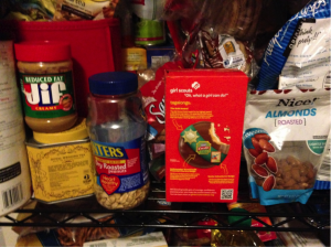 My roommate's line of things that could kill me: note the peanut butter, peanuts, tagalongs, and almonds.