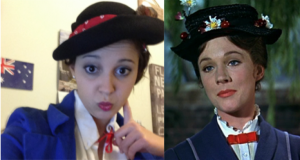 Mary Poppins selfie, anyone? Finally, one last connection: I was able to dress up as Mary herself with my theatre group recently. *Squeal of happiness* (Not too shabby, right?) Also, please note the practically perfect Australian flag postcard behind me.