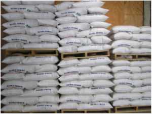 Rice packaged and labeled by quality/type.