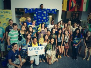 Some members of the Class of 2018 gather for a group shot with their Orientation Leader!