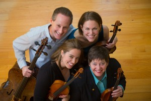 The Serafin String Quartet: Lawrence Stomberg, Esme Allen-Creighton, Kate Ransom, and Lisa Vaupel (Clockwise from top)