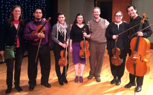 2015 Grad Student Quintet joined by Prof. Esme Allen-Creighton (L) and Prof Lawrence Stomberg (3rd from R)