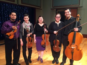 UD Grad Student Quintet. L-R: Joel Tosta Alarcon, Nicole Fassold, Megan Digeorgio, Maria Rusu, Cesar Colmenares