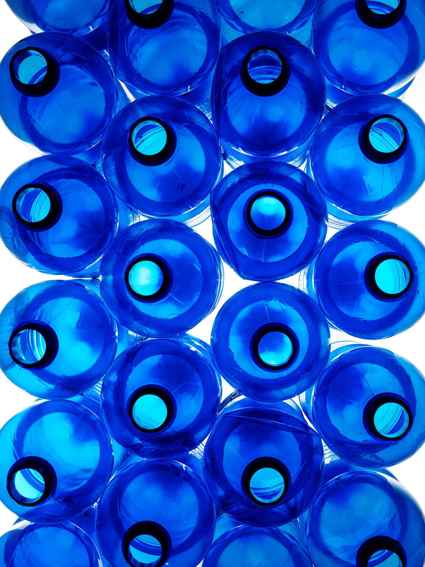 bright blue bottles