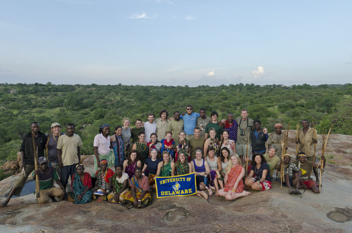 Jon Cox, standing 2nd from left; Jacob Bowman, standing 4th from right; UD students, and Tanzanian Guides. January 2012